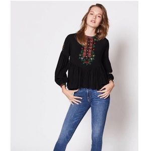 Joie Ghita Black Embroidered Shirt M Boho